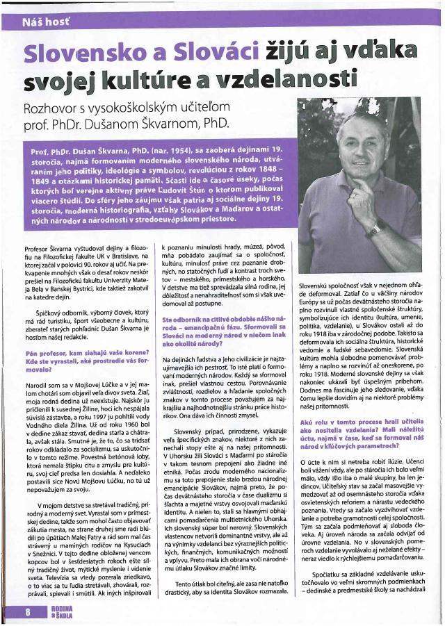 Rozhovor s prof. D. Škvarnom