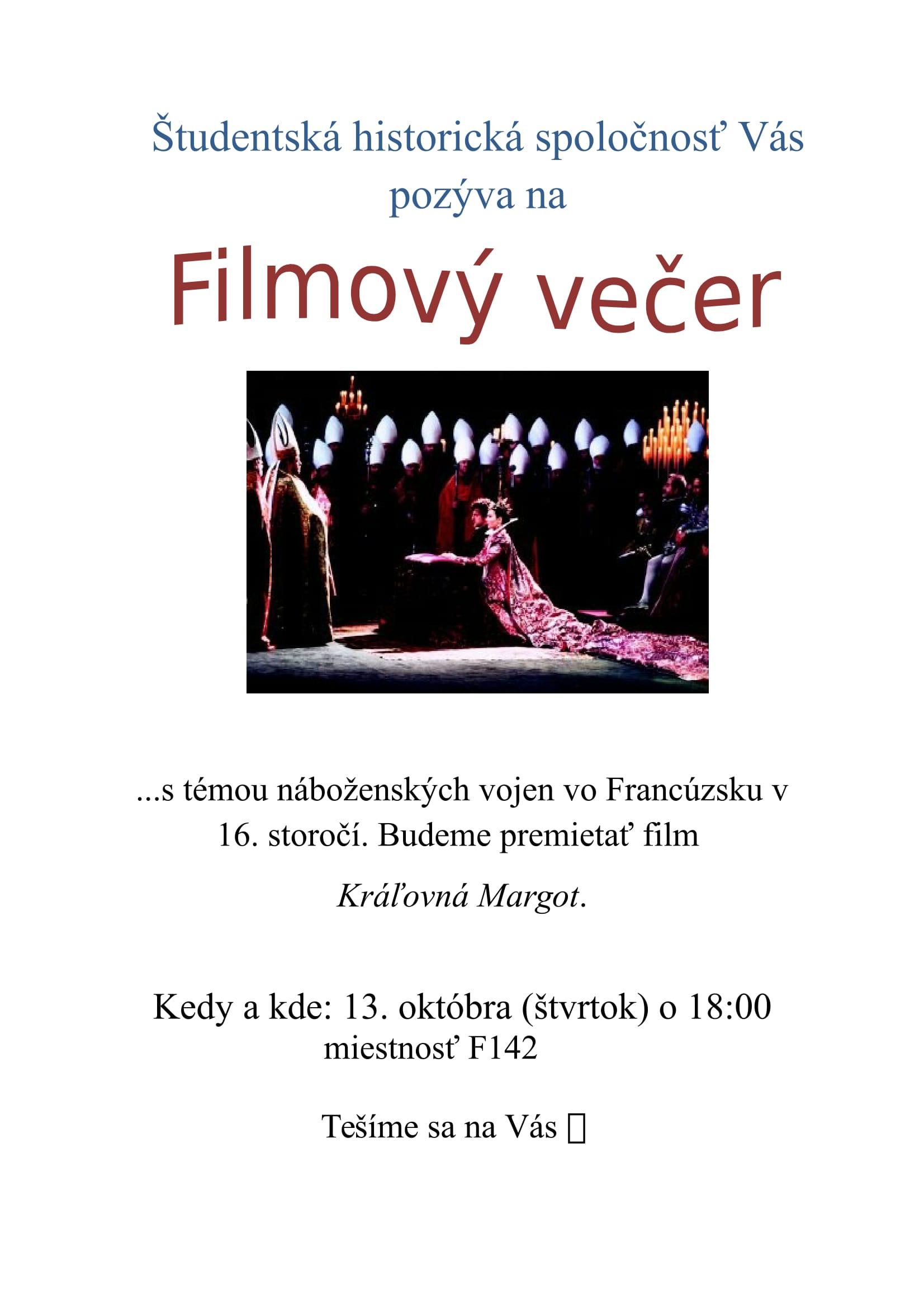 Filmový večer - pozvánka
