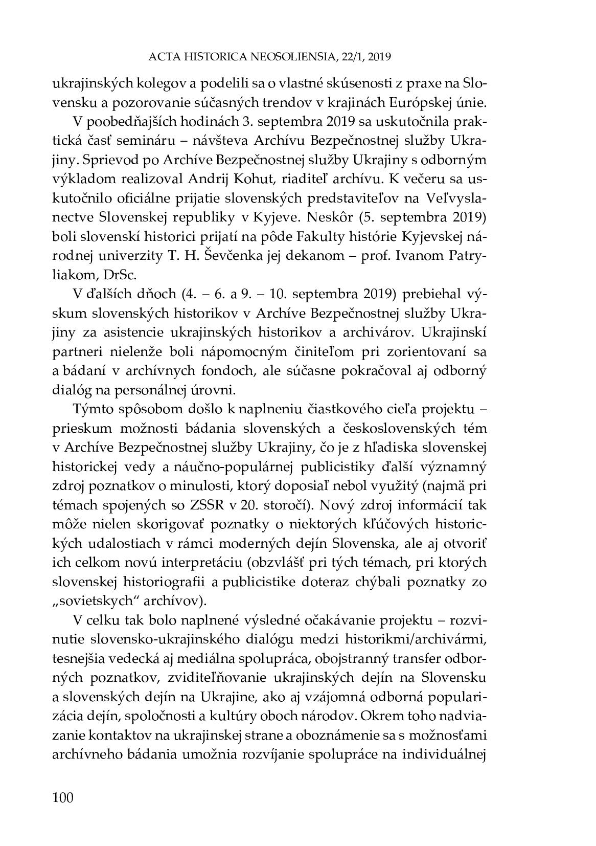 Šmigeľ - správa o projekte